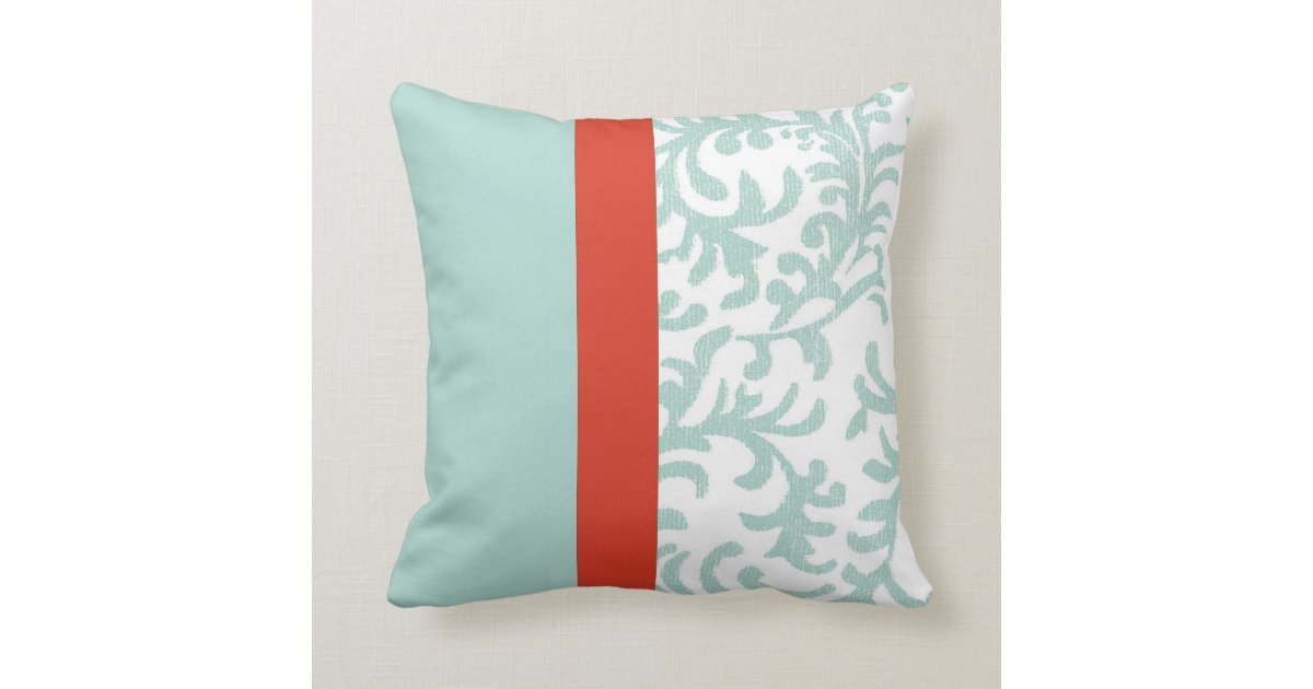 Red Green And Blue Throw Pillows : Red and Teal Blue Floral Damask Throw Pillow Zazzle