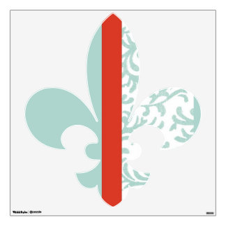 Red and Teal Blue Floral Damask Wall Decal