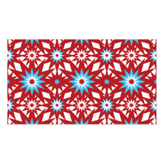 Red and Teal Blue Star Pattern Starburst Design Double-Sided Standard Business Cards (Pack Of 100)