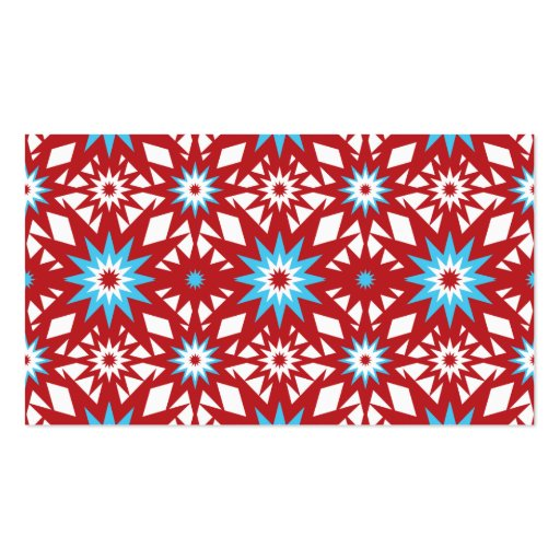 Red and Teal Blue Star Pattern Starburst Design Business Card Template