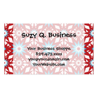 Red and Teal Blue Star Pattern Starburst Design Business Card