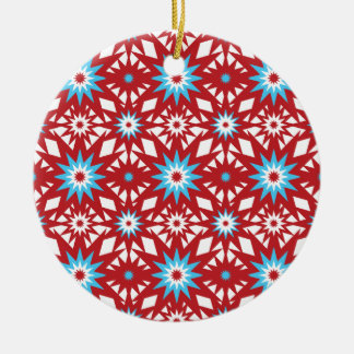 Red and Teal Blue Star Pattern Starburst Design Ceramic Ornament