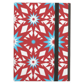 Red and Teal Blue Star Pattern Starburst Design iPad Folio Cases