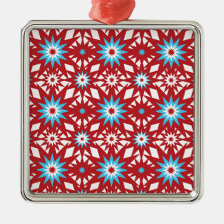 Red and Teal Blue Star Pattern Starburst Design Metal Ornament
