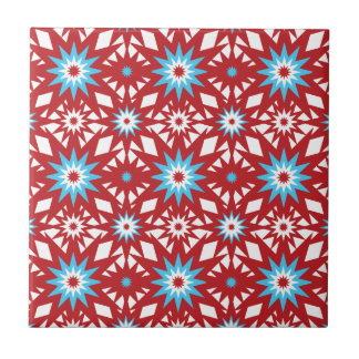Red and Teal Blue Star Pattern Starburst Design Tile