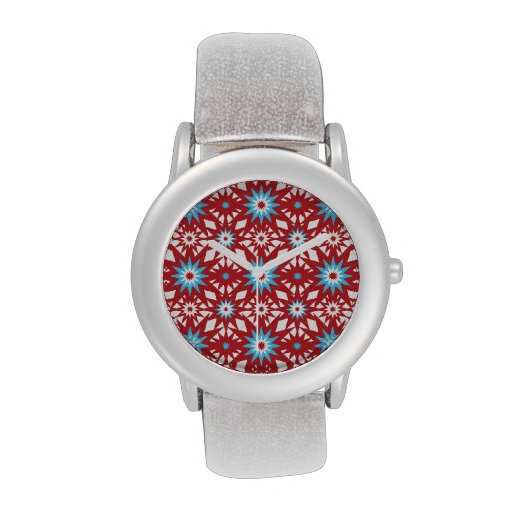 Red and Teal Blue Star Pattern Starburst Design Watches