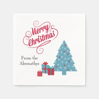Red and Teal Fun Merry Christmas Party Napkins Paper Napkins