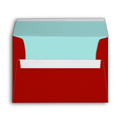 Red and Teal Lined Envelope