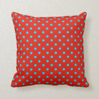 Red and Teal Polka Dot Pattern Pillow