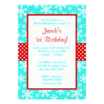Red and Teal Snowflakes Winter Onederland Personalized Announcements