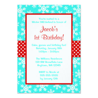 Red and Teal Snowflakes Winter Onederland 5x7 Paper Invitation Card