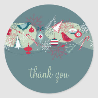 Red and Teal Winter Lovebirds Thank You Sticker