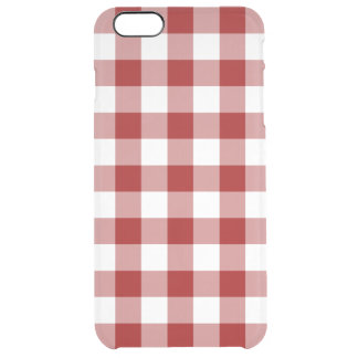 Red and Transparent Gingham Clear iPhone 6 Plus Case