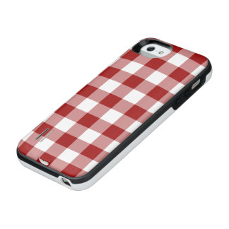 Red and Transparent Gingham iPhone SE/5/5s Battery Case