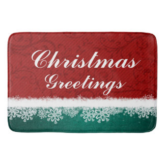 Red and Turquoise Christmas Greetings Snowflakes Bath Mats