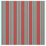 [ Thumbnail: Red and Turquoise Colored Striped/Lined Pattern Fabric ]