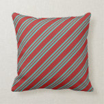 [ Thumbnail: Red and Turquoise Colored Striped/Lined Pattern Throw Pillow ]