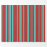 [ Thumbnail: Red and Turquoise Colored Striped/Lined Pattern Wrapping Paper ]