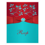 Red and Turquoise Floral Reply Card