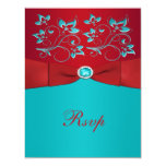 Red and Turquoise Floral Reply Card Invite