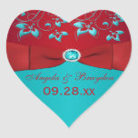 Red and Turquoise Floral Wedding Favor Sticker