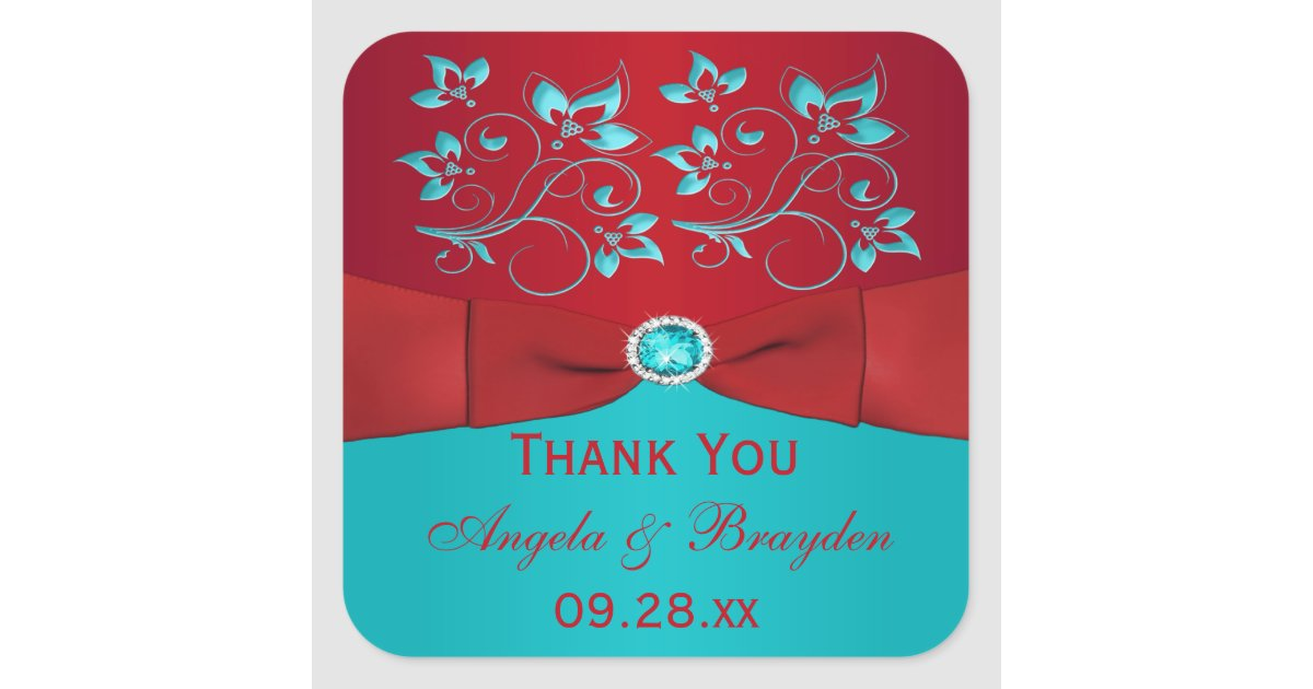 Red and Turquoise Floral Wedding Favor Sticker   Zazzle