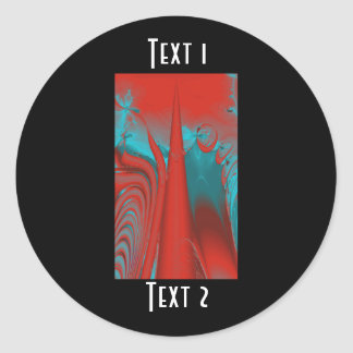 Red and Turquoise Lines and Swirls. Fractal Art. Classic Round Sticker