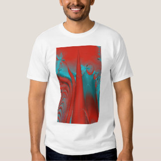 Red and Turquoise Lines and Swirls. Fractal Art. T-shirt