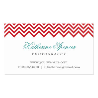 Red and Turquoise Modern Chevron and Polka Dots Double-Sided Standard Business Cards (Pack Of 100)