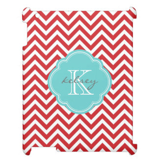 Red and Turquoise Modern Chevron Custom Monogram Cover For The iPad