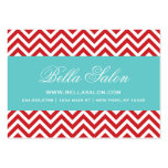 Red and Turquoise Modern Chevron Stripes Business Card Templates