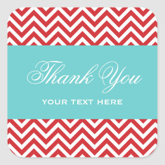 Red and Turquoise Modern Chevron Stripes Square Sticker