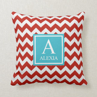 Red and Turquoise Monogram Chevron Print Throw Pillow