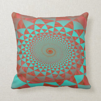 Red and Turquoise Spiral Abstract Throw Pillow