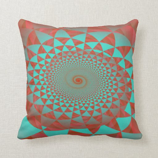 Red and turquoise spiral abstract throw pillow zazzle for Turquoise and red throw pillows