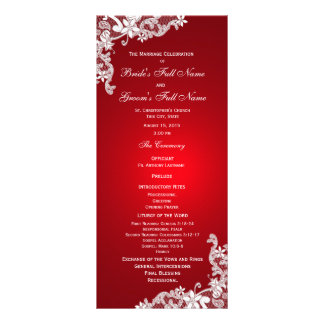 Red and Vintage Floral Lace Wedding Program Personalized Rack Card
