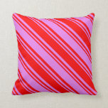 [ Thumbnail: Red and Violet Colored Lines Pattern Throw Pillow ]