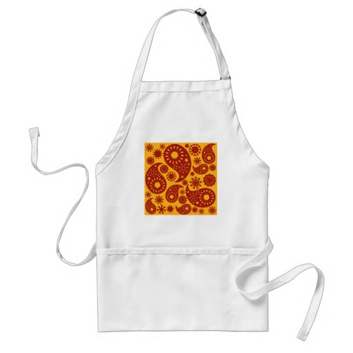 Red and Warm Yellow Paisley Pattern. Adult Apron
