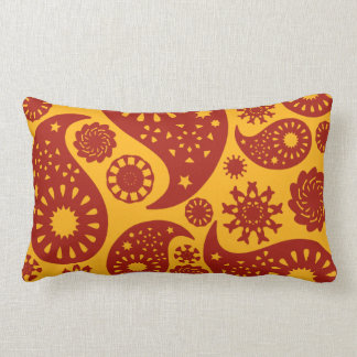 Red and Warm Yellow Paisley Pattern. Throw Pillow