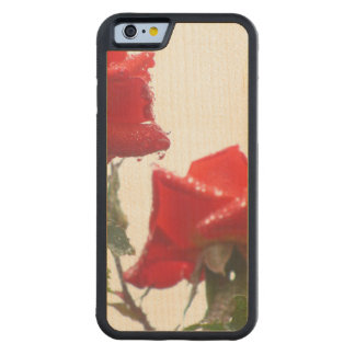 Red And Wet Flowers Carved Maple iPhone 6 Bumper Case