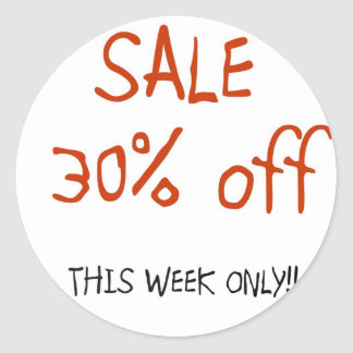 Red and White 30% off  >Sale Sticker
