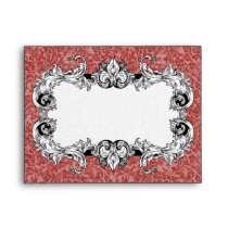 Red and White A2 Gothic Baroque Envelopes