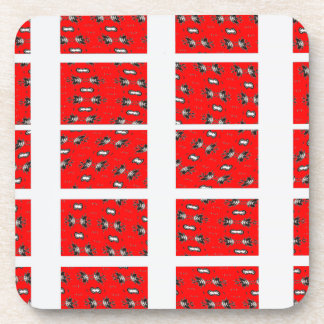 Red and White Abstract Beverage Coaster