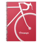 Red and White Abstract Bike Note Book