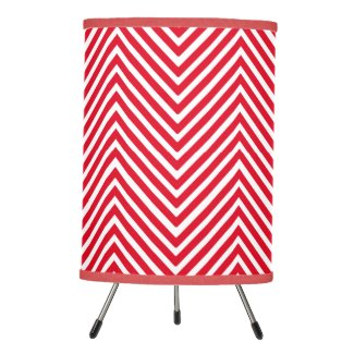 Red and White Abstract Chevron Pattern Lamp