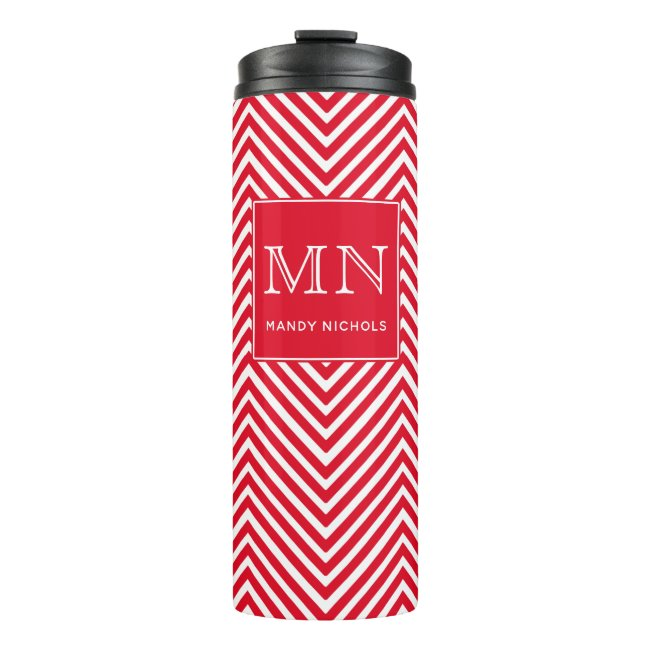 Red and White Abstract Chevron Pattern Monogram