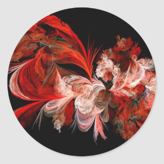 Red and White Abstract Design on Black Classic Round Sticker