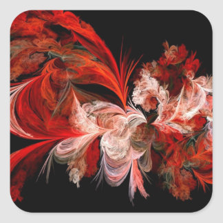 Red and White Abstract Design on Black Square Sticker