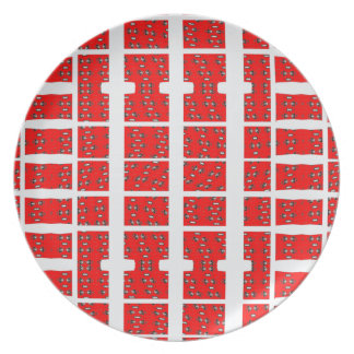 Red and White Abstract Dinner Plates