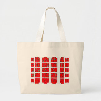 Red and White Abstract Large Tote Bag